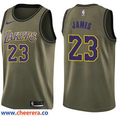 687d89455ca Men s Nike Los Angeles Lakers  23 LeBron James Green NBA Swingman Salute to  Service Jersey