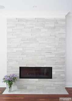 Too white? like linear fireplace.better on a raised hearth Linear Gas Fireplace Design Ideas, Pictures, Remodel and Decor: Tv Above Fireplace, Linear Fireplace, Double Sided Fireplace, Fireplace Built Ins, Small Fireplace, Concrete Fireplace, Home Fireplace, Marble Fireplaces, Fireplace Remodel