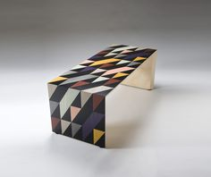 """Shift"" table by Toby Winteringham; marquetry design by Patternity.co.uk.; Made in Sycamore with marquetry in dyed veneers. Hand cut."