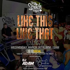Wednesday (March 30th) in the DFW area! 1010 Social (1003 N. Collins st. | Arlington) Join us for some cuts! For more info @djvteq & @circa_75 #txscratchleague #turntablism #turntablist by txscratchleague http://ift.tt/1HNGVsC