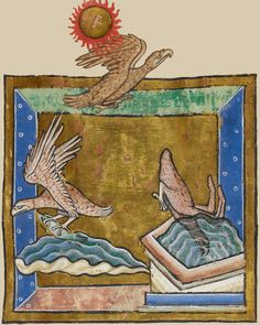 Miniature of eagles in flight over water. From the manuscript Royal 12 C XIX f. 38r, 13th century, English, British Library