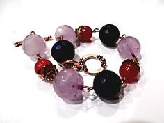 This Handmade Copper Bracelet with Lapis Lazuli ,Amethyst and Red Jade are for auction ..link