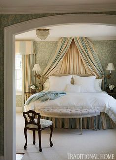 Swedish bed in New England Home with Hushed Holiday Palette