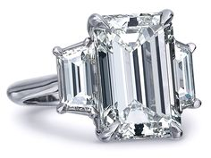 Emerald Cut Diamond Trapezoids Engagement Ring 0.7 tcw in White Gold