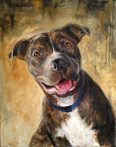 Pike the Handsome Pittie by Painted Paws Studio Animal Paintings, Animal Drawings, Art Drawings, Bull Painting, Painting & Drawing, Illustration Art, Illustrations, Dog Portraits, Drawing People