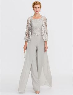 77b80a61f14  179.99 - Pantsuit Straps Floor Length Chiffon Corded Lace Mother of the  Bride Dress with Appliques