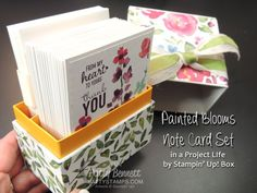 Create a gift box of 20 cards in a recycled Project Life by Stampin' UP! box with Painted Blooms paper