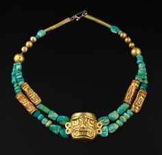 Peru | Double row necklace composed of turquoise and gold beads | Chavin period, 1000 - 400 BC.