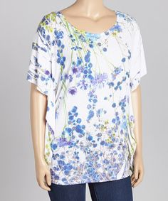 Another great find on #zulily! White & Periwinkle Flowers Dolman Top - Plus by Poliana Plus #zulilyfinds