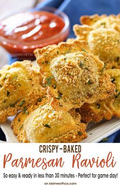 Crispy Baked Parmesan Ravioli are an easy appetizer recipe you'll want on your game day menu. Simple to make & done in about 30 minutes. Delicious!