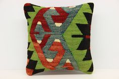 Turkish Kilim Pillow Cover 12 x 12 Oriental by ANATOLIANRUGS