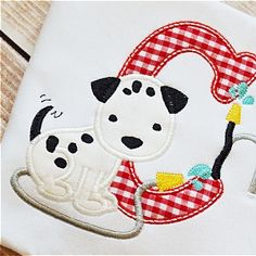 Applique Dalmation Puppy Dog Birthday Shirt - Any Letter or NumBer from by MyBirthdayShirtShop on Etsy Applique Monogram, Applique Embroidery Designs, Embroidery Fonts, Machine Embroidery, Applique Ideas, Christmas Applique, Christmas Embroidery, Dog Birthday, Birthday Shirts