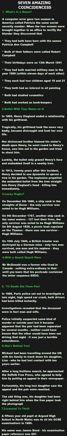 Seven amazing coincidences!