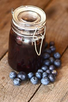 Homemade blueberry sauce made with frozen wild blueberries.