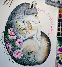 Wolf and Cub - Mixed Media Animal Paintings and Drawings by Jonna Lamminaho - tat ideas - Art Art Drawings Beautiful, Cute Drawings, Tattoo Drawings, Simple Drawings, Realistic Drawings, Kawaii Drawings, Cool Wolf Drawings, Sketch Tattoo, Animal Paintings