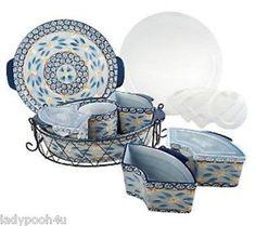 Temp-tations Old World 3 qt. Round Lid-it w/ 5 Mini Bakers Large Oven Set Blue