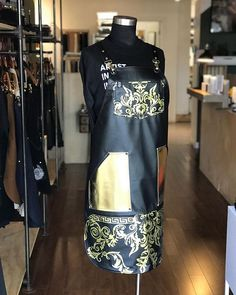 A beautiful, handmade, custom hairstylist apron. Hairstylist Apron, Custom Aprons, Stylists, Gold, Handmade, Beautiful, Personalized Aprons, Hand Made, Craft