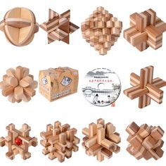 10 Classic IQ Wooden Interlocking Brain Teaser Puzzles Game Toy for Adults Children