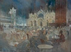 Enjoying the Evening, St Mark's Square Venice (watercolor on paper, 20x28) by Paul Banning.