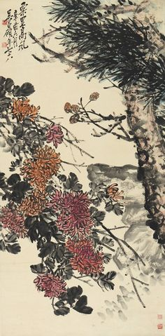WU CHANGSHUO: INK AND COLOR ON PAPER 'CHRYSANTHEMUM' Japan Painting, Ink Painting, Chinese Brush, Chinese Art, Korean Art, Chinese Painting, Western Art, Chrysanthemum, Art Auction