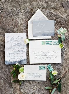 mountain wedding invitations - photo by Bonnie Sen Photography http://ruffledblog.com/intimate-vow-renewal-in-the-woods