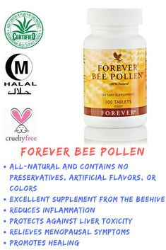 Forever Bee Pollen is gathered in specially designed stainless steel collectors from blossoms that blanket high desert regions.Health Benefits are, cleanses toxins in the liver, relieve menopausal symptoms, promotes healing and reduces inflammation. Herbal Remedies, Home Remedies, Natural Remedies, Forever Living Aloe Vera, Forever Aloe, Health And Beauty, Health And Wellness, Diet Supplements, Health Products