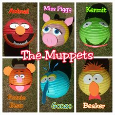 Muppets Inspired Paper Lantern Decorations (Kermit, Miss Piggy, Gonzo, Animal… Paper Lanterns Party, Pink Lanterns, Lanterns Decor, Muppet Babies, Miss Piggy, Kermit, Baby Birthday, Birthday Ideas, Baby Party