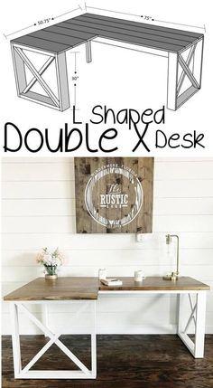 cool L Shaped Double X Desk #WoodworkingProjectsComputerDesk #coolComputerDesk