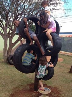 Tyres makes a great climbing pole for the kids inyourbackyard, playground natural playgrounds ideas for kids playground playground ideas concept criativo Kids Backyard Playground, Backyard Playset, Backyard For Kids, Backyard Games, Diy For Kids, Tyre Ideas For Kids, Plastic Playground, Children Playground, Playground Ideas