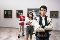 Mia Sara (Sloane Peterson) says that Matthew Broderick (Ferris Bueller) actually tickled her feet and knees to get her to laugh naturally in the taxicab scene. [Ferris Bueller's Day Off] Ferris Bueller, Best Teen Movies, 80s Movies, Great Movies, Awesome Movies, 1980s Films, Iconic Movies, 1990s, Throwback Movies