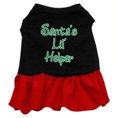 Santa's Lil Helper Screen Print Dress Black with Red XXL (18)