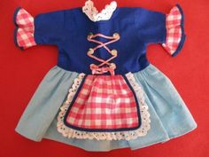 Original-Schildkroet-Puppenkleid-Dirndl-50-60ger-Jahre-fuer-56-cm-grosse-Puppen