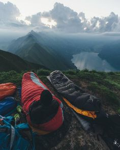 Camping & Tents   Sleeping bags on the rocks with a view