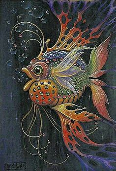 Art of Randal Spangler: Bordados Tambour, Illustration Photo, Illustrations, Fish Art, Whimsical Art, Tropical Fish, Rock Art, Painting Inspiration, Art Lessons