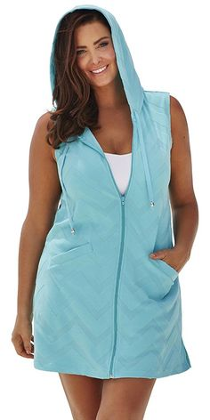 swimsuitsforall Women's swimsuitsforall Seamint Terry Zip Hoodie *** Hurry! Check out this great product : Plus size bathing suits