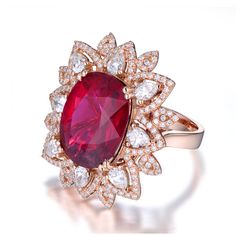 CaiMao 8.55ct Natural Pink Tourmaline & 1.65ct Diamond 18k Gold gemstone engagement ring Fine Jewelry
