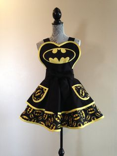 Batman Apron  Retro Apron  Superhero Costume  by AriaApparel