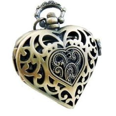 Vintage Victorian Heart Antique Bronze Filigree Photo Locket Pendant Necklace - Wrapped & Gift Boxed
