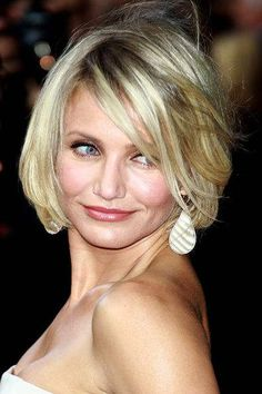 Cameron Diaz bob hair style 2012 Hottest Short Bob.Cameron Diaz wears this short, lightly layered bob, to perfection! A deep side part with the lightest, white, face framing highlights, ups the glamour of this bob hairstyle.