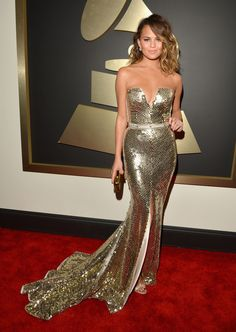 Chrissy Teigen in Johanna Johnson Grammys Red Carpet 2014