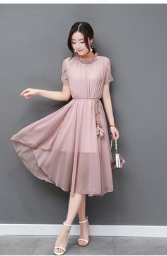 Courtly Solid Round Neck Petal Sleeve Chiffon Maxi Dress - Was And Now - online shopping with discounted prices Trendy Dresses, Stylish Outfits, Cute Dresses, Beautiful Dresses, Casual Dresses, Short Dresses, Fashion Dresses, Classy Gowns, Dress Brokat