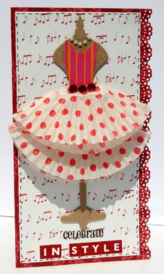 "Cupcake liners for skirt; Card: Celebrate in style. Use 2 layered cupcake liners for a ""skirt"". Cupcake Liner Crafts, Paper Cupcake, Cupcake Liners, Cupcake Holders, Cupcake Wrappers, Cute Cards, Diy Cards, Scrapbook Cards, Scrapbooking"