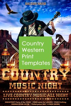 Great print templates for country western events. Wooden, brown, rustic vintage themes and more modern themes are included https://graphicriver.net/collections/3480015-country-and-western-templates?ref=4cgraphic