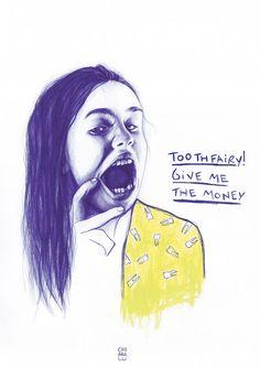 """Tooth fairy, give me the money!"" Portrait: bic pen + pastels. More here: http://chiaraluz.blogspot.it/"
