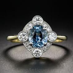 Vintage Style Aquamarine and Diamond Ring - Antique & Vintage Gemstone Rings - Vintage Jewelry