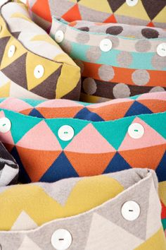 Colorful cushions by Uimi, Australian made knitware #color #colour #colorful #rainbow - Carefully selected by GORGONIA www.gorgonia.it