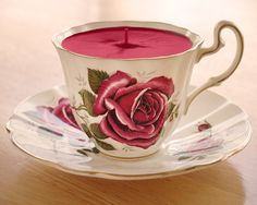 DIY idea-- teacup candle.  Gotta look up how to make soy candles now!
