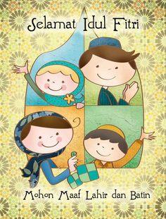 Selamat Hari Raya Idul Fitri Kartun : selamat, fitri, kartun, Lebaran, Clipart, Ideas, Mubarak, Card,, Cards