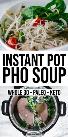 Instant Pot Chicken Pho Recipe - April Golightly The Effective Pictures We Offer You About asian recipes curry A quality picture can tell you many thin Paleo Recipes, Asian Recipes, Soup Recipes, Vietnamese Recipes, Crockpot Recipes, Instant Pot Pressure Cooker, Pressure Cooker Recipes, Chicken Pho Soup, Slow Cooker