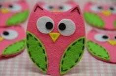 Felt owl decorations.